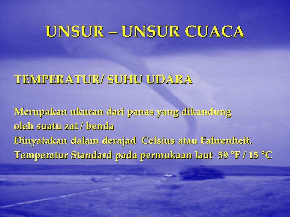 UNSUR – UNSUR CUACA TEMPERATUR/ SUHU UDARA