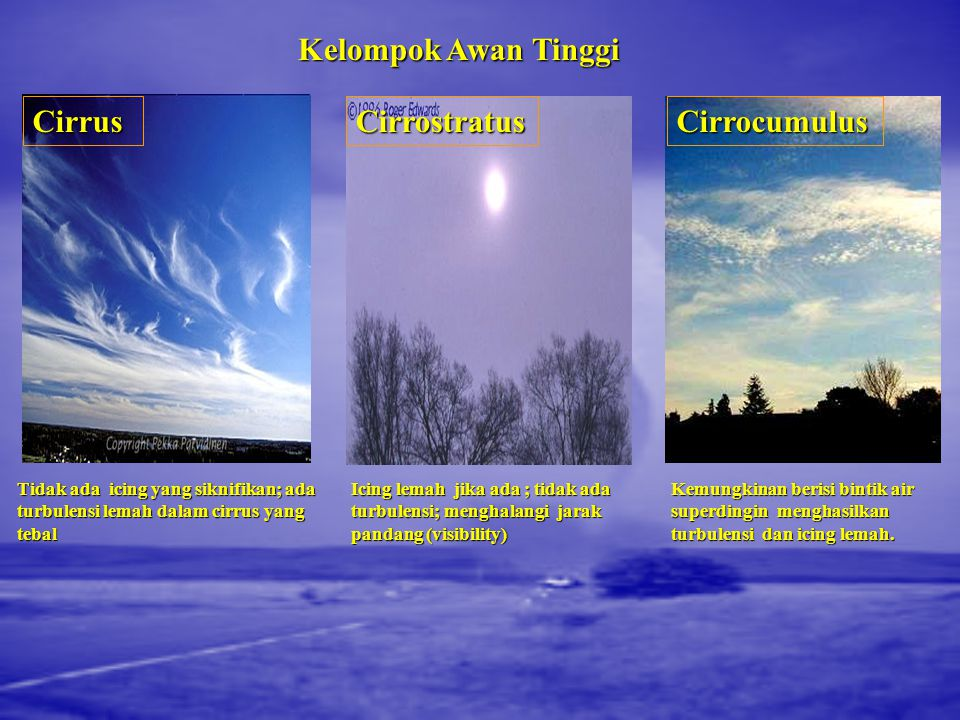 Kelompok Awan Tinggi Cirrus Cirrostratus Cirrocumulus