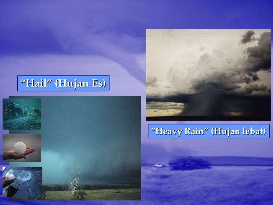 Hail (Hujan Es) Heavy Rain (Hujan lebat)