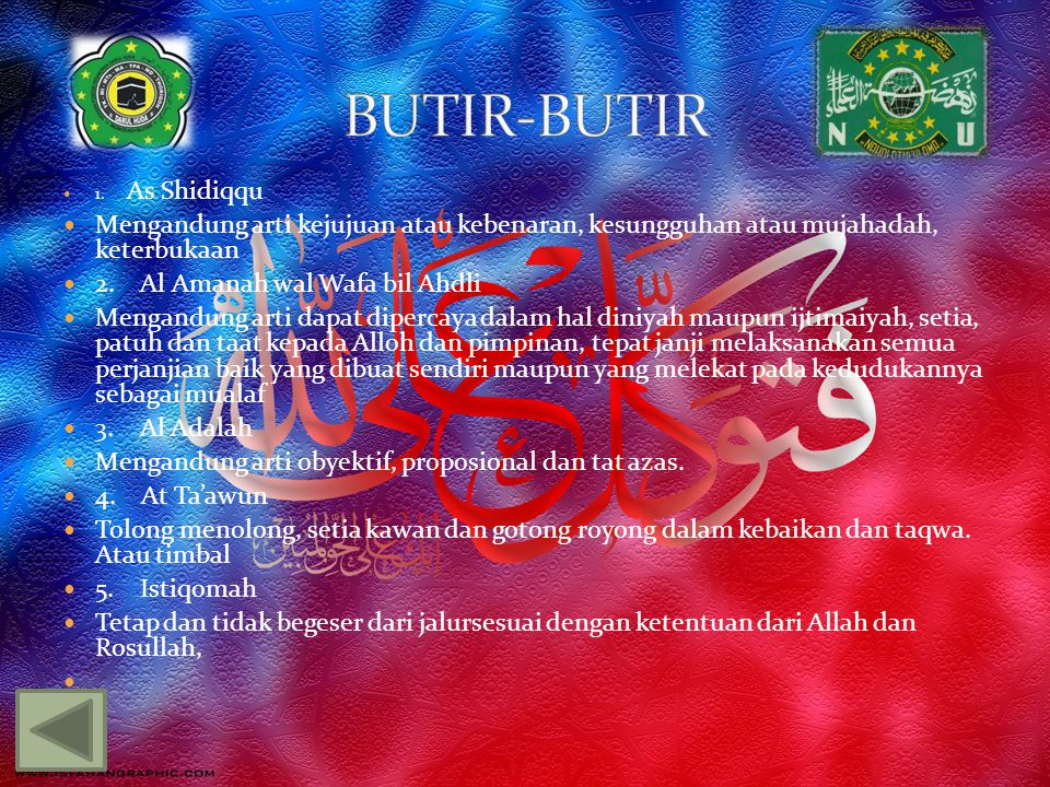 BUTIR-BUTIR 1. As Shidiqqu. Mengandung arti kejujuan atau kebenaran, kesungguhan atau mujahadah, keterbukaan.