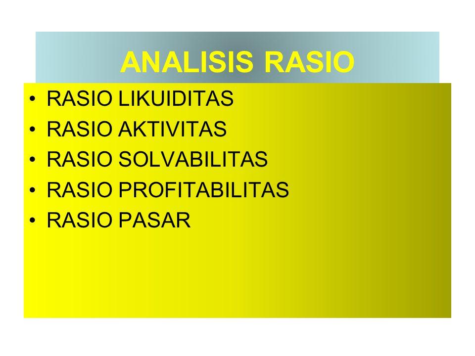ANALISIS RASIO RASIO LIKUIDITAS RASIO AKTIVITAS RASIO SOLVABILITAS