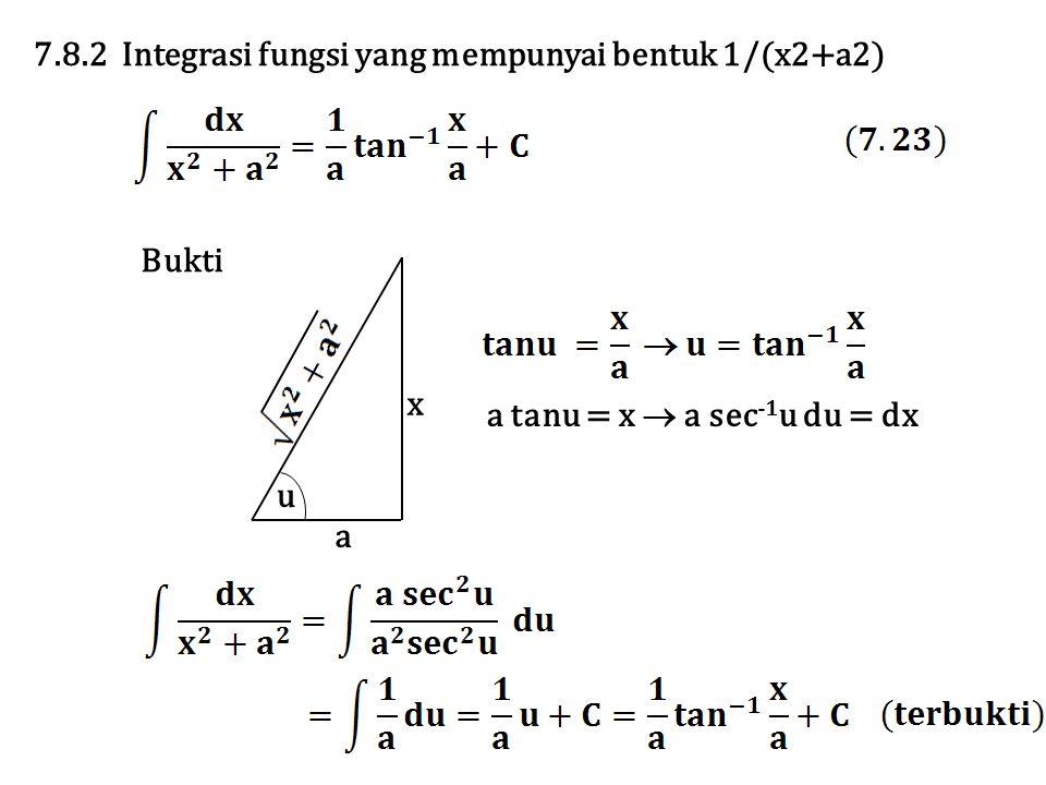 7.8.2 Integrasi fungsi yang mempunyai bentuk 1/(x2+a2)