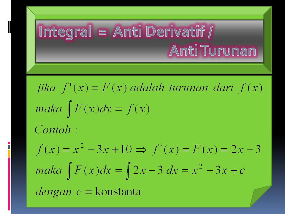 Integral = Anti Derivatif / Anti Turunan