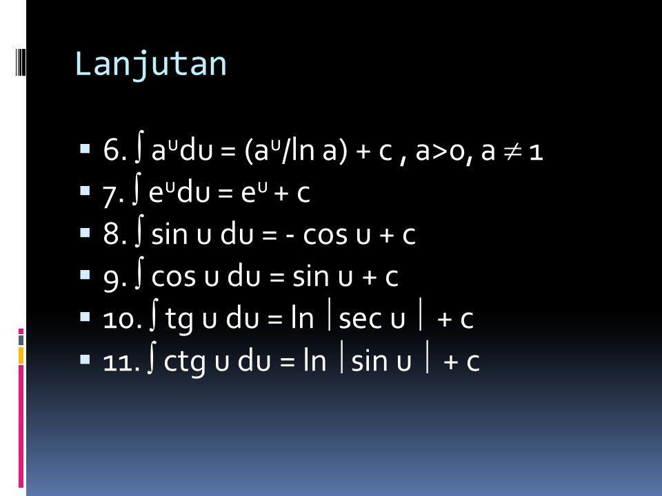 Lanjutan 6.  audu = (au/ln a) + c , a>0, a  1 7.  eudu = eu + c