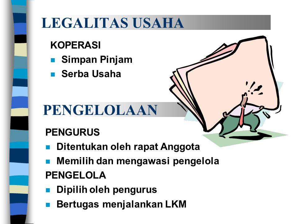 LEGALITAS USAHA PENGELOLAAN KOPERASI Simpan Pinjam Serba Usaha