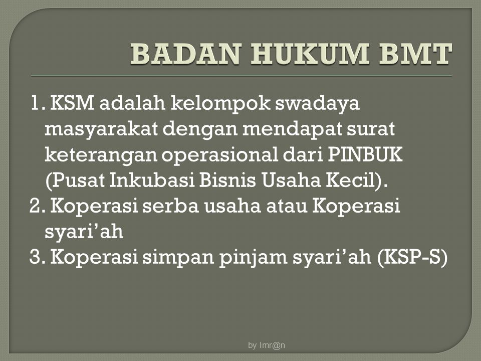 BADAN HUKUM BMT