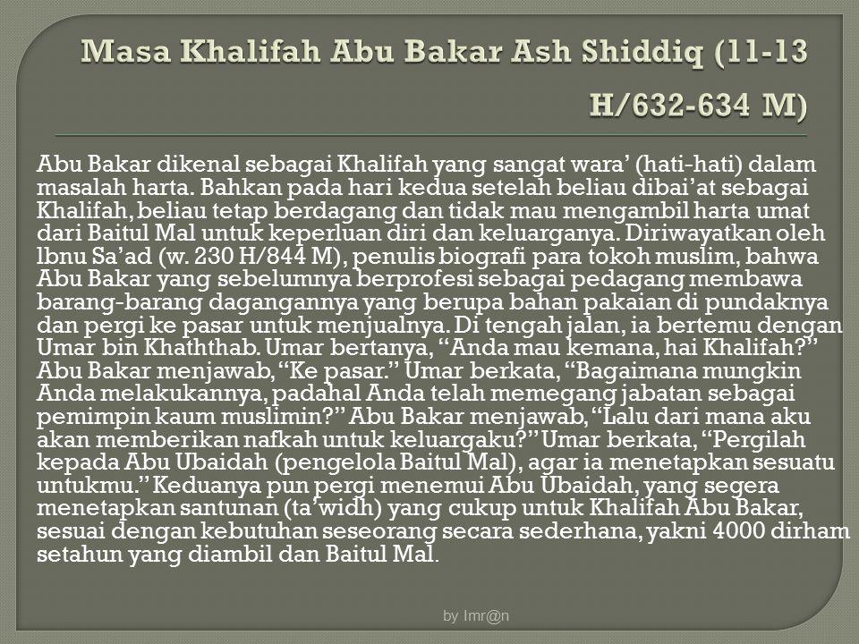 Masa Khalifah Abu Bakar Ash Shiddiq (11-13 H/632-634 M)
