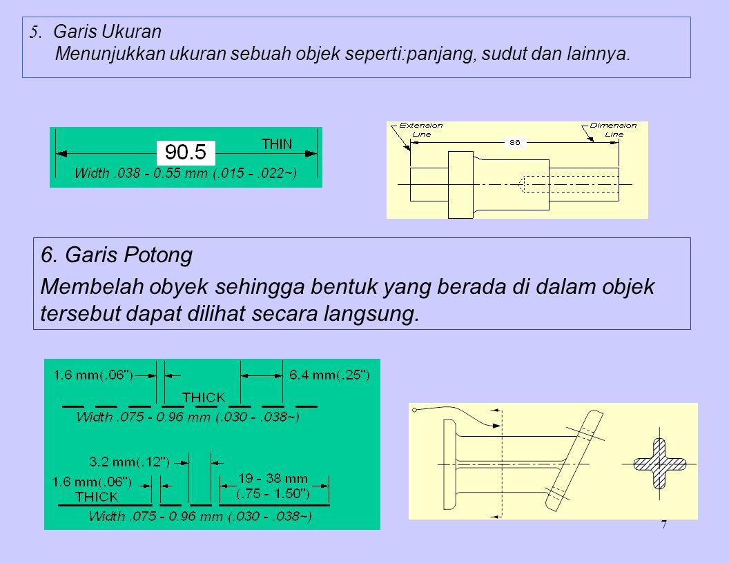 5. Garis Ukuran Menunjukkan ukuran sebuah objek seperti:panjang, sudut dan lainnya. 6. Garis Potong.