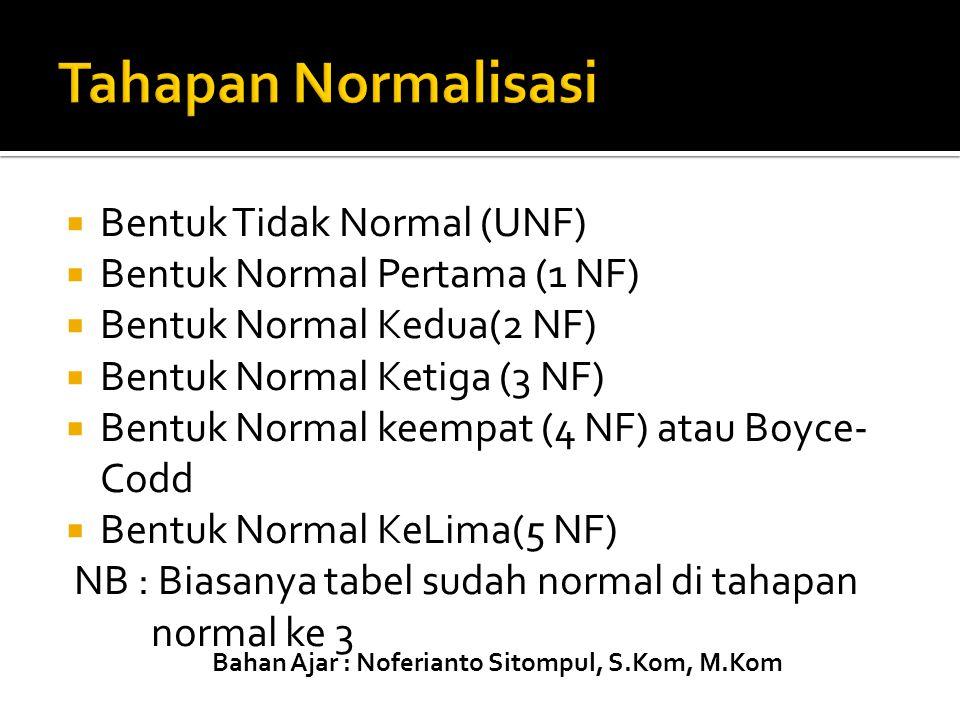Tahapan Normalisasi Bentuk Tidak Normal (UNF)