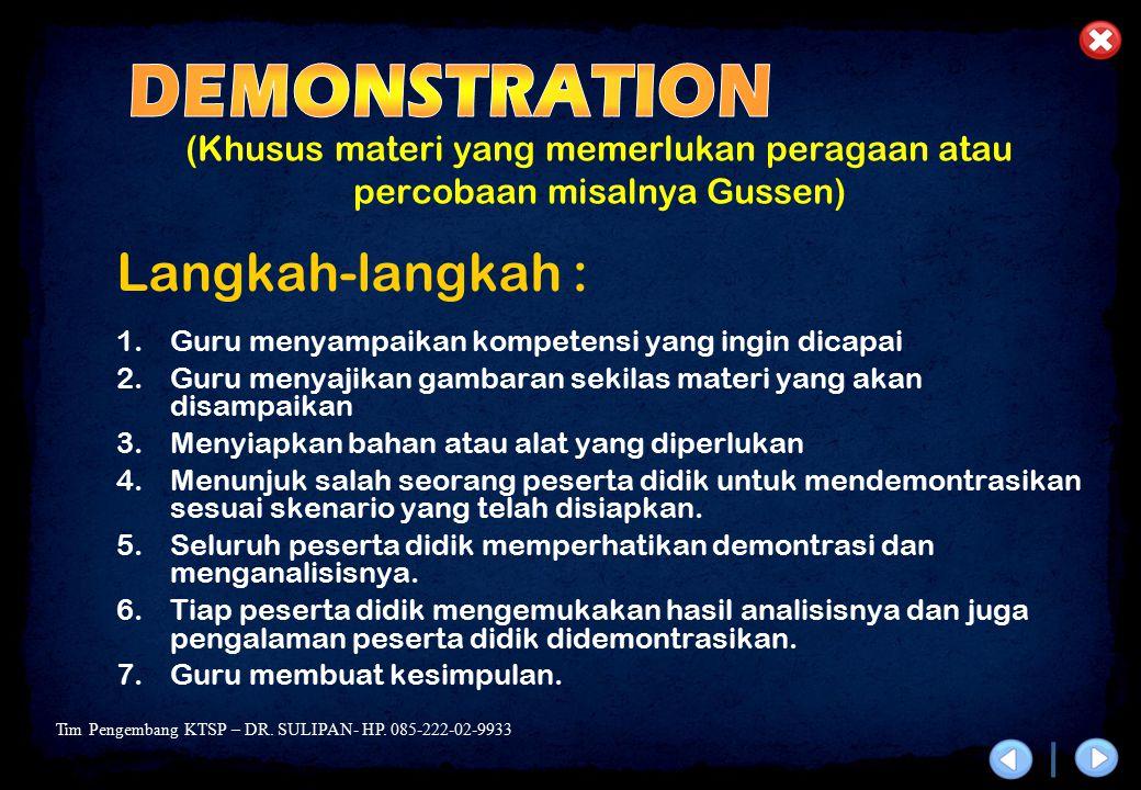 DEMONSTRATION Langkah-langkah :