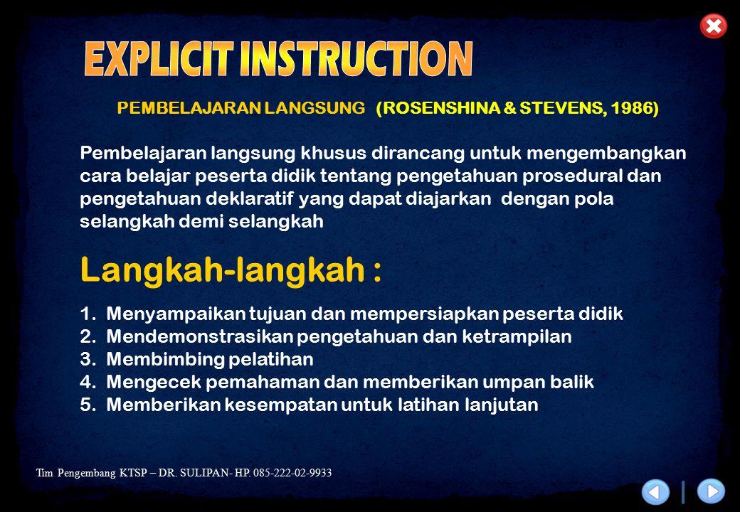 EXPLICIT INSTRUCTION Langkah-langkah :
