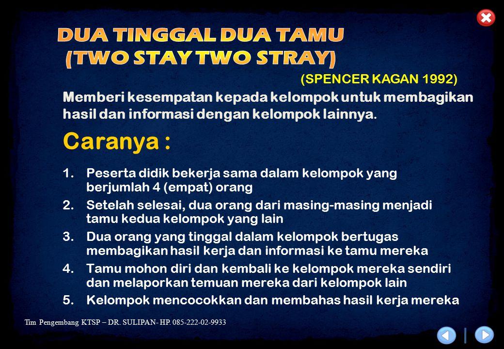 DUA TINGGAL DUA TAMU (TWO STAY TWO STRAY)