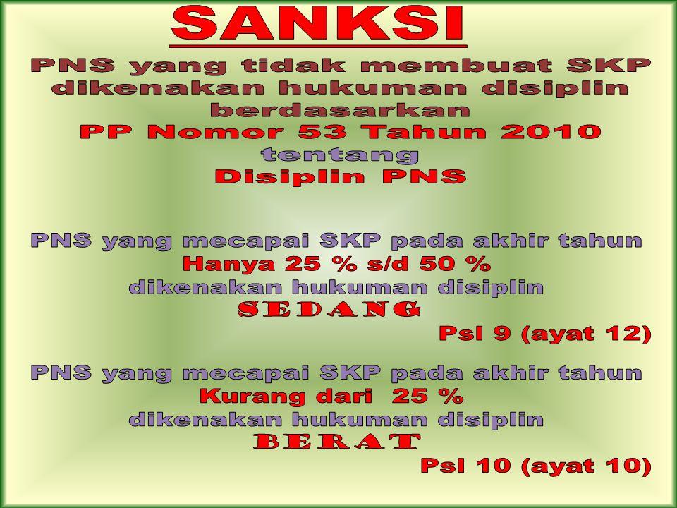 PNS yang tidak membuat SKP dikenakan hukuman disiplin berdasarkan