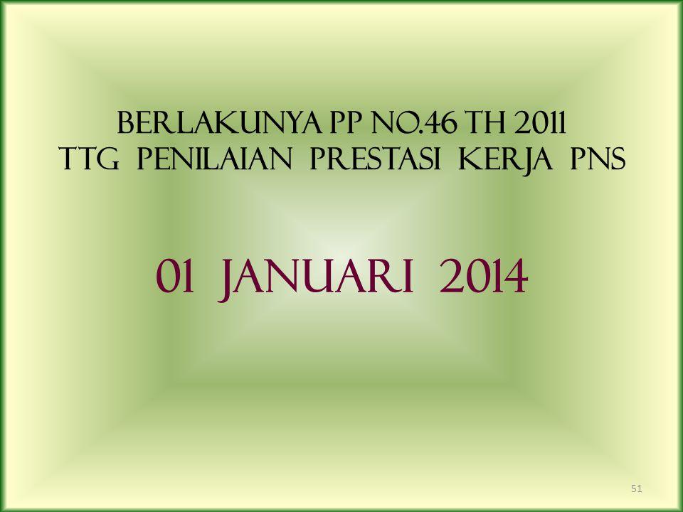 BERLAKUNYA PP NO.46 TH 2011 TTG PENILAIAN PRESTASI KERJA PNS