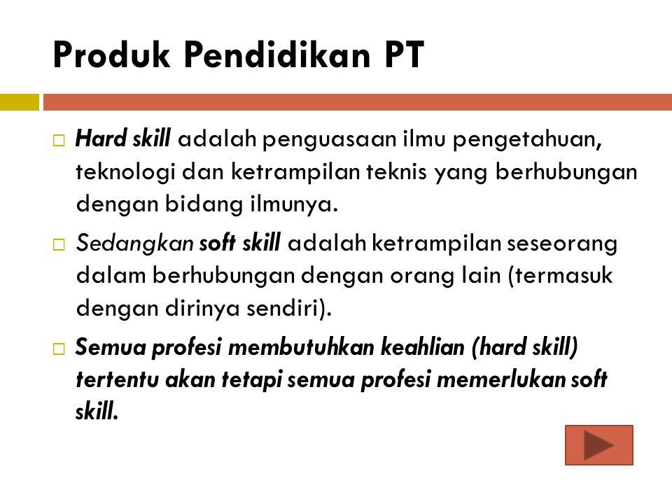 Produk Pendidikan PT Hard skill adalah penguasaan ilmu pengetahuan, teknologi dan ketrampilan teknis yang berhubungan dengan bidang ilmunya.
