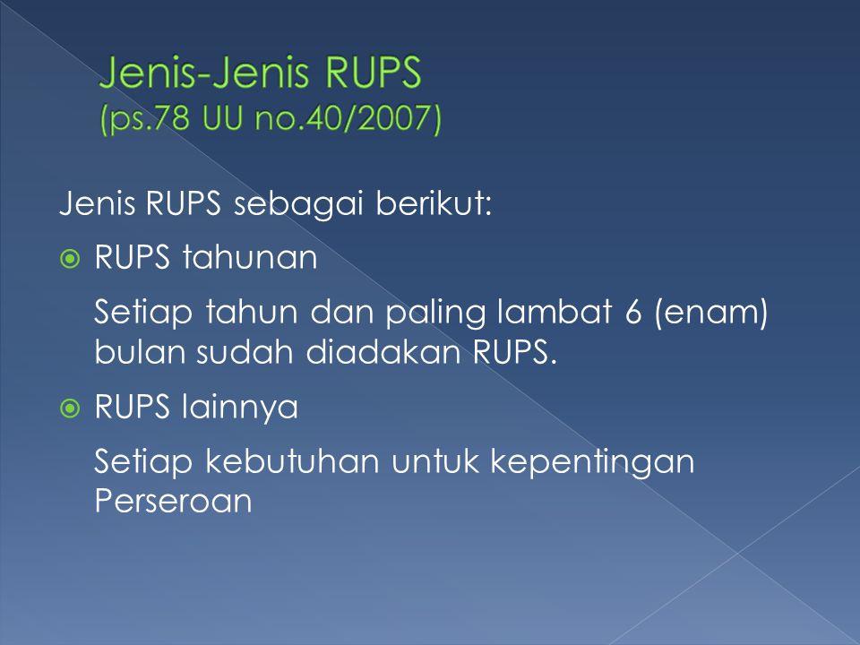 Jenis-Jenis RUPS (ps.78 UU no.40/2007)