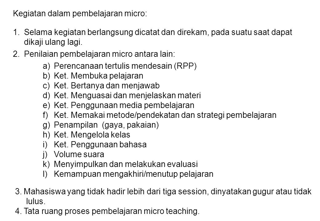 Kegiatan dalam pembelajaran micro: