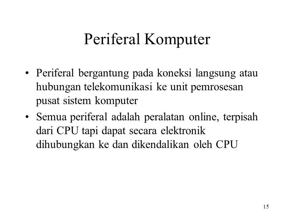 Periferal Komputer Periferal bergantung pada koneksi langsung atau hubungan telekomunikasi ke unit pemrosesan pusat sistem komputer.