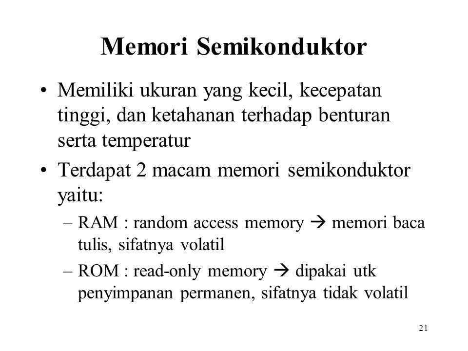 Memori Semikonduktor Memiliki ukuran yang kecil, kecepatan tinggi, dan ketahanan terhadap benturan serta temperatur.