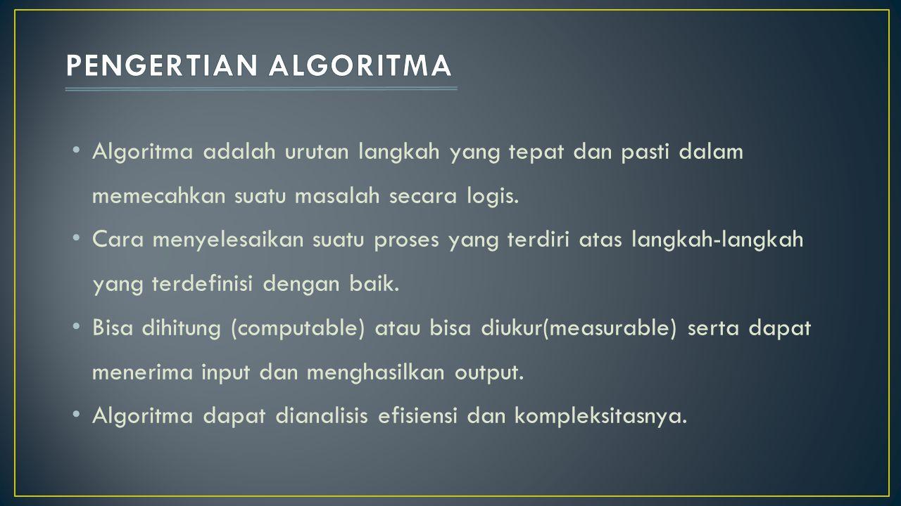 PENGERTIAN ALGORITMA Algoritma adalah urutan langkah yang tepat dan pasti dalam memecahkan suatu masalah secara logis.