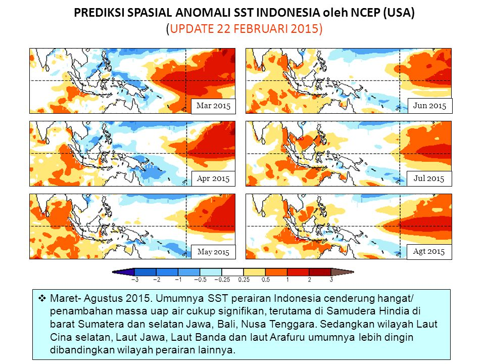 PREDIKSI SPASIAL ANOMALI SST INDONESIA oleh NCEP (USA) (UPDATE 22 FEBRUARI 2015)