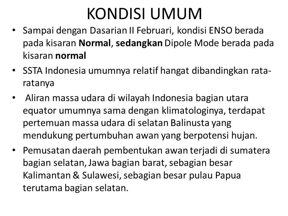 KONDISI UMUM Sampai dengan Dasarian II Februari, kondisi ENSO berada pada kisaran Normal, sedangkan Dipole Mode berada pada kisaran normal.