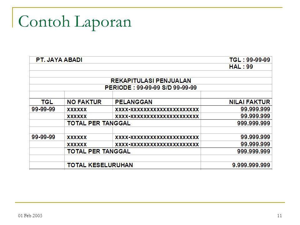 Contoh Laporan 01 Feb 2005