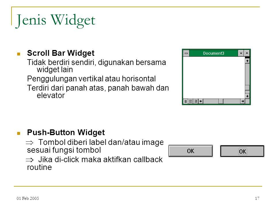Jenis Widget Scroll Bar Widget Push-Button Widget