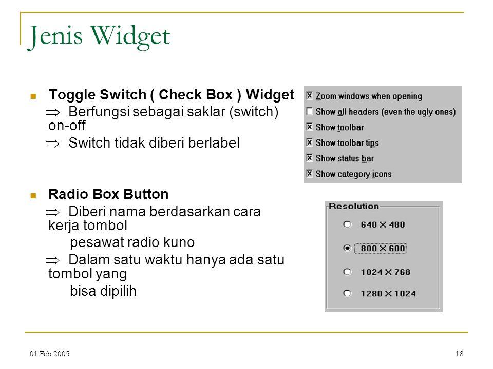 Jenis Widget Toggle Switch ( Check Box ) Widget