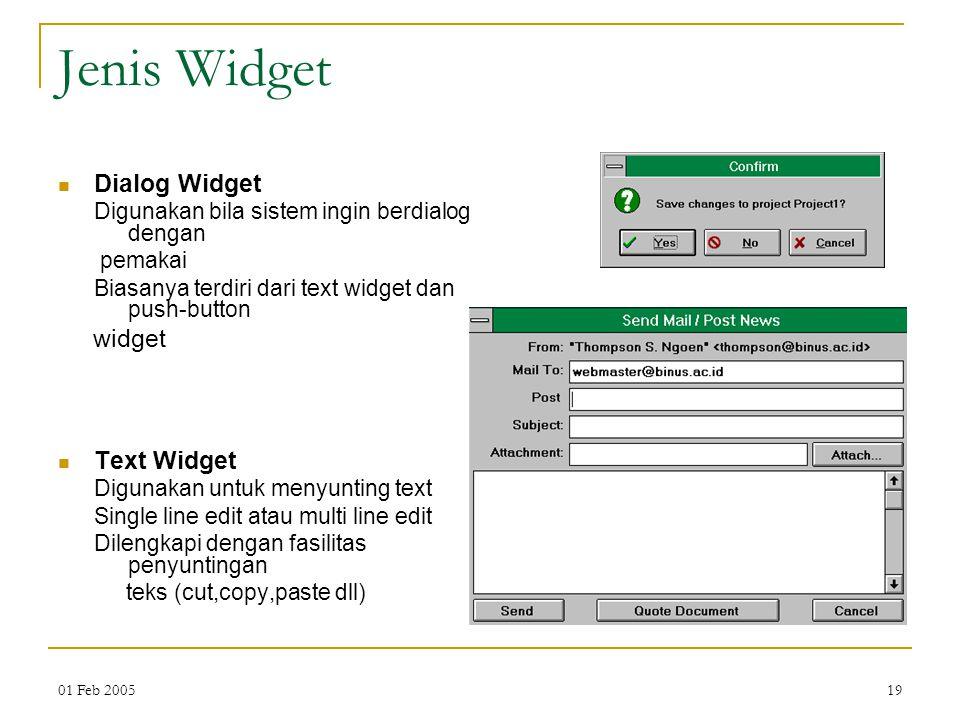 Jenis Widget Dialog Widget widget Text Widget