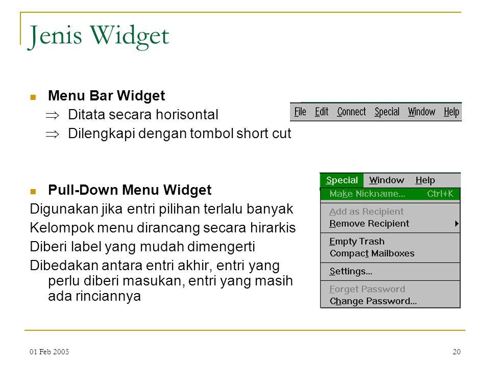 Jenis Widget Menu Bar Widget  Ditata secara horisontal