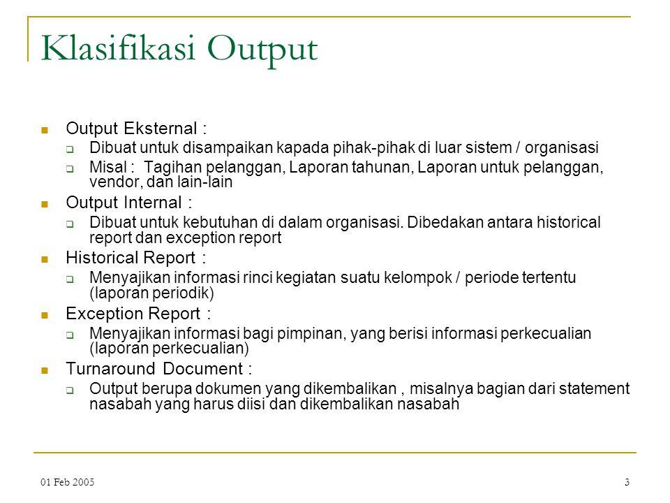 Klasifikasi Output Output Eksternal : Output Internal :