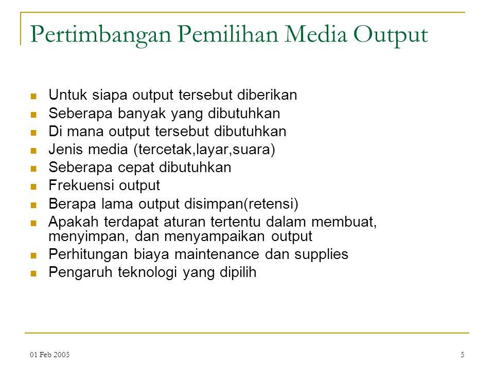 Pertimbangan Pemilihan Media Output