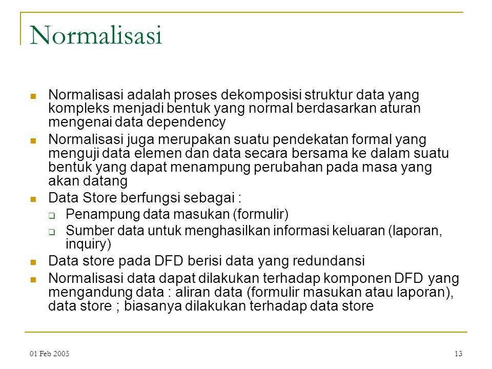 Normalisasi Normalisasi adalah proses dekomposisi struktur data yang kompleks menjadi bentuk yang normal berdasarkan aturan mengenai data dependency.