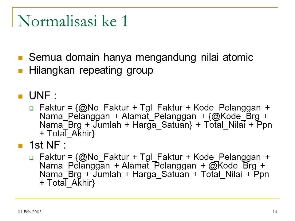 Normalisasi ke 1 Semua domain hanya mengandung nilai atomic