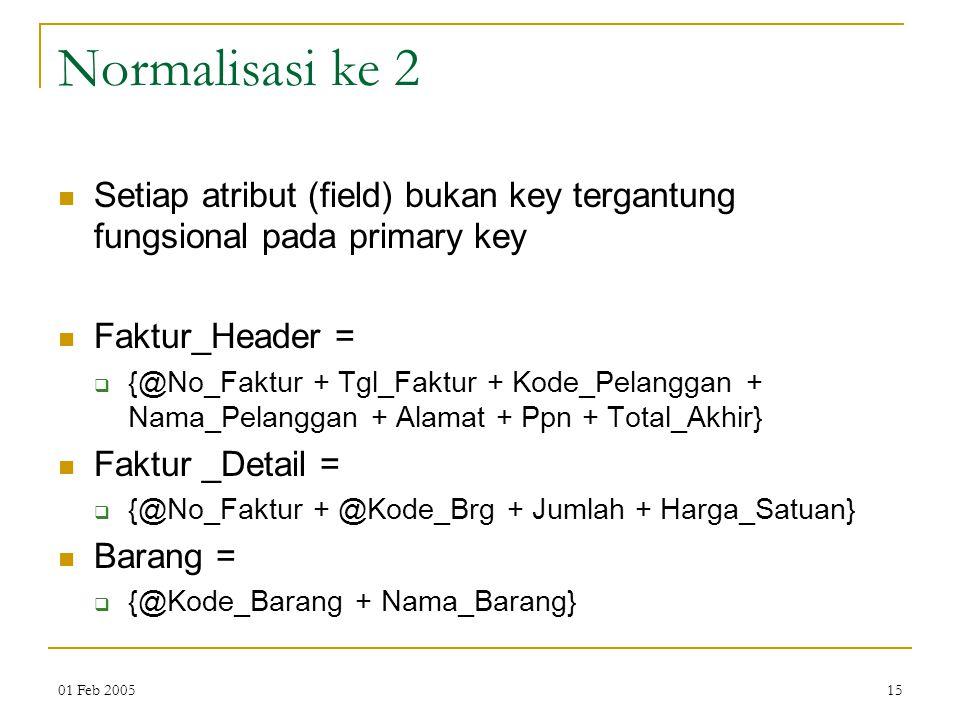 Normalisasi ke 2 Setiap atribut (field) bukan key tergantung fungsional pada primary key. Faktur_Header =