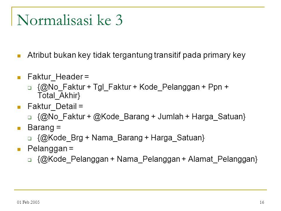 Normalisasi ke 3 Atribut bukan key tidak tergantung transitif pada primary key. Faktur_Header =
