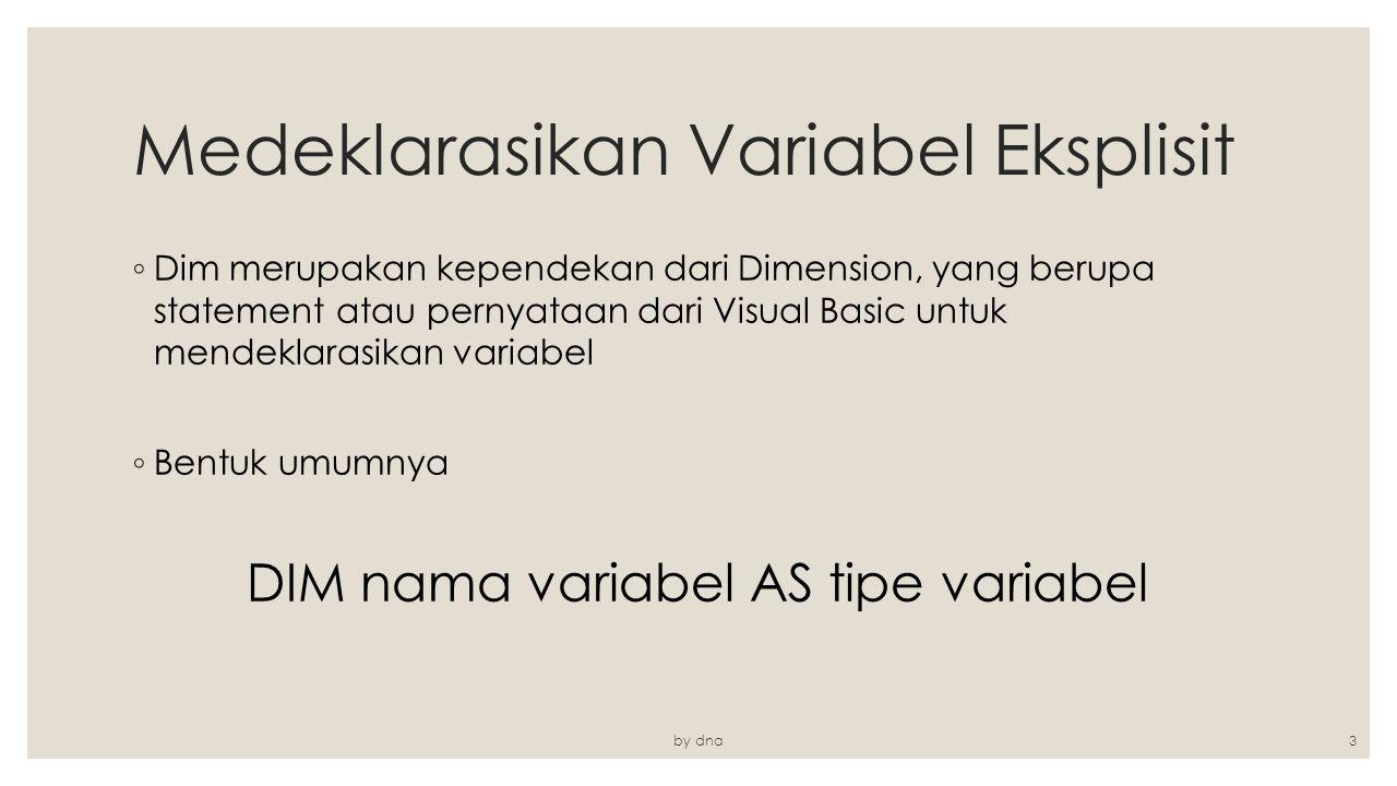 Medeklarasikan Variabel Eksplisit