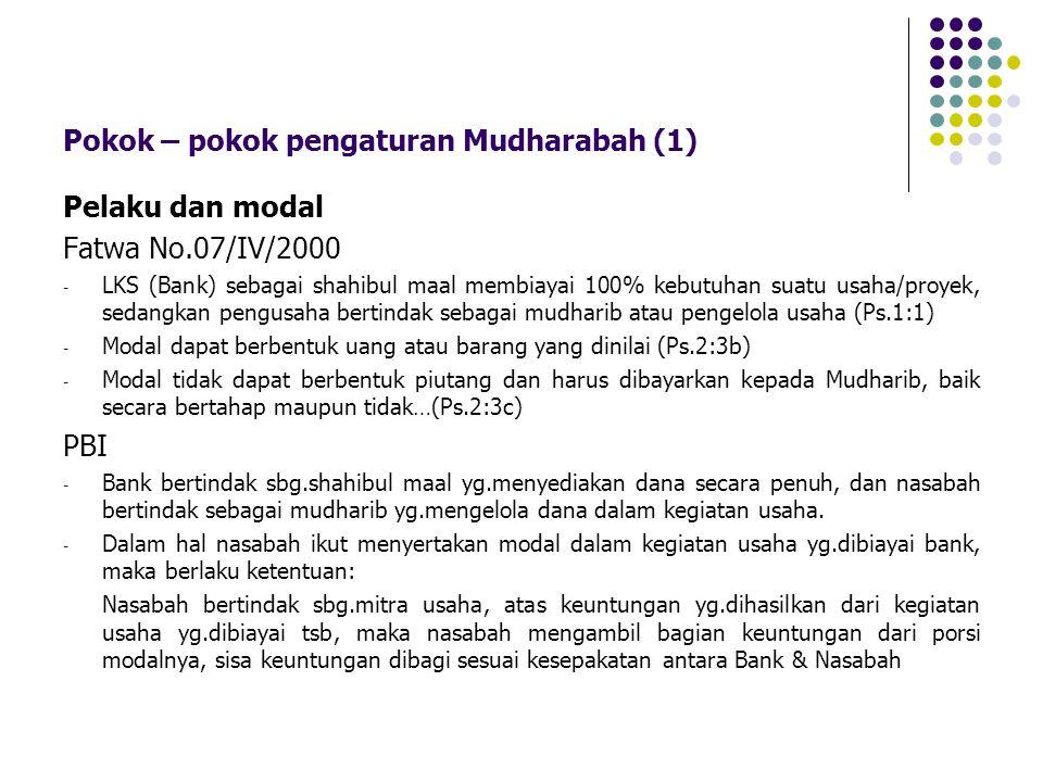 Pokok – pokok pengaturan Mudharabah (1)