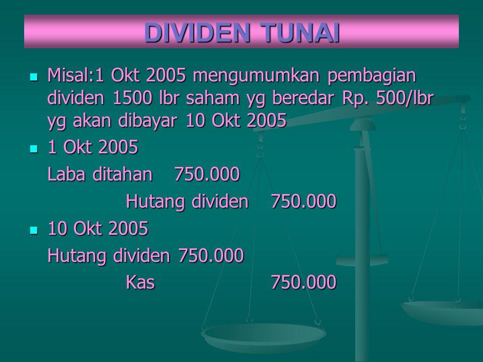 DIVIDEN TUNAI Misal:1 Okt 2005 mengumumkan pembagian dividen 1500 lbr saham yg beredar Rp. 500/lbr yg akan dibayar 10 Okt 2005.