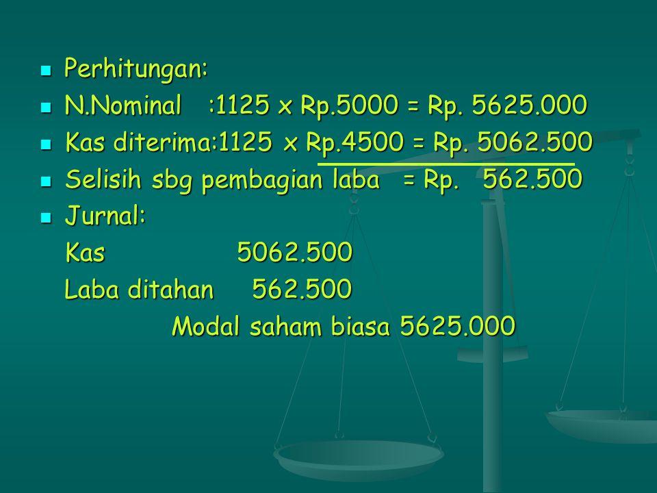 Perhitungan: N.Nominal :1125 x Rp.5000 = Rp. 5625.000. Kas diterima:1125 x Rp.4500 = Rp. 5062.500.
