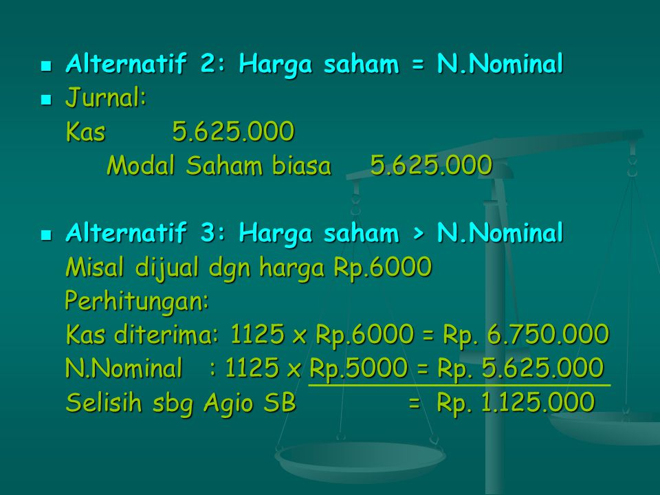 Alternatif 2: Harga saham = N.Nominal