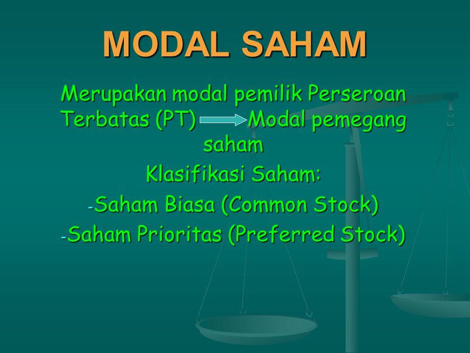 MODAL SAHAM Merupakan modal pemilik Perseroan Terbatas (PT) Modal pemegang saham. Klasifikasi Saham: