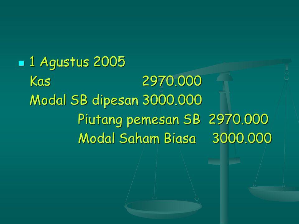 1 Agustus 2005 Kas 2970.000. Modal SB dipesan 3000.000.