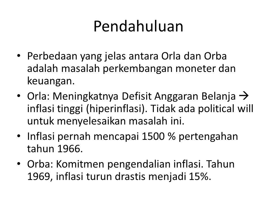 Pendahuluan Perbedaan yang jelas antara Orla dan Orba adalah masalah perkembangan moneter dan keuangan.