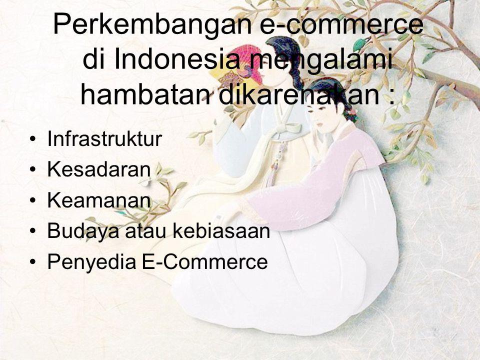 Perkembangan e-commerce di Indonesia mengalami hambatan dikarenakan :