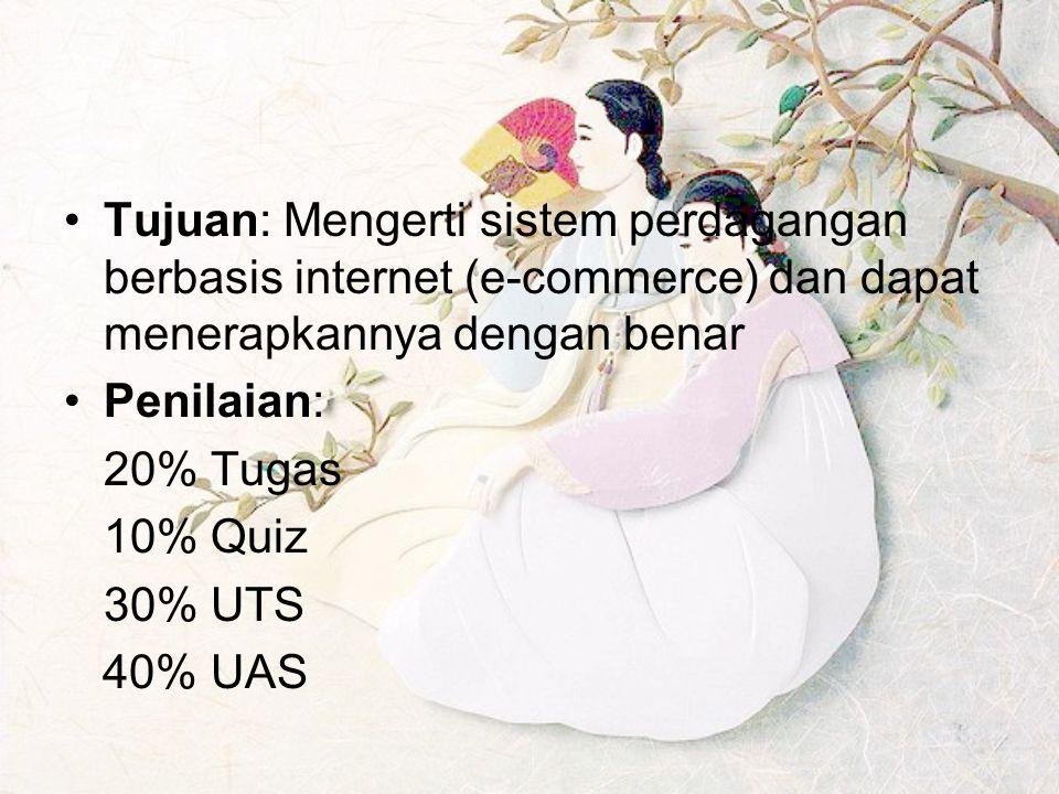 Tujuan: Mengerti sistem perdagangan berbasis internet (e-commerce) dan dapat menerapkannya dengan benar
