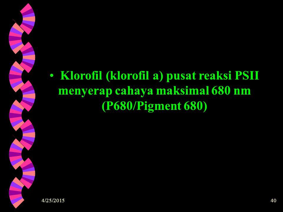 Klorofil (klorofil a) pusat reaksi PSII menyerap cahaya maksimal 680 nm (P680/Pigment 680)