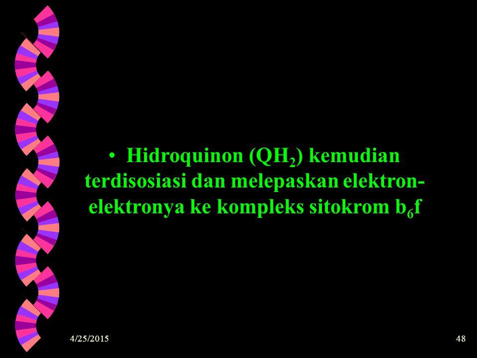 Hidroquinon (QH2) kemudian terdisosiasi dan melepaskan elektron-elektronya ke kompleks sitokrom b6f