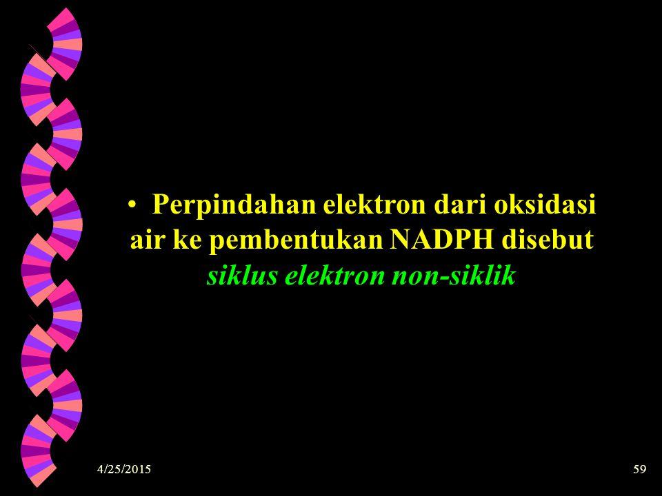 Perpindahan elektron dari oksidasi air ke pembentukan NADPH disebut siklus elektron non-siklik